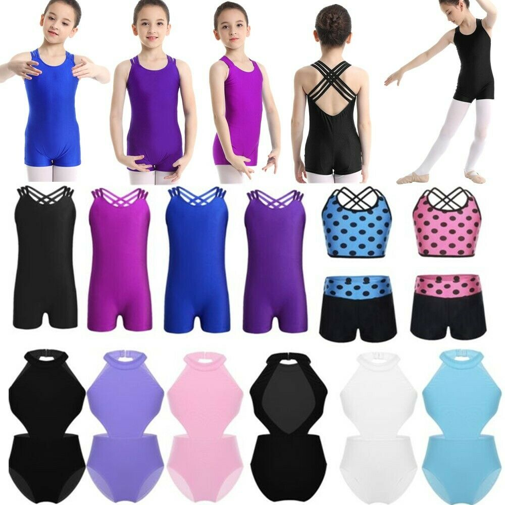 Kids Girls Gymnastics Dance Sports Unitard Ballroom Ballet Dancing Set Dancewear