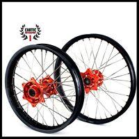 Ktm 125-530 Sx Sxf Exc Wheels Set 2003-2014 Black Rims Orange Hub 21/19