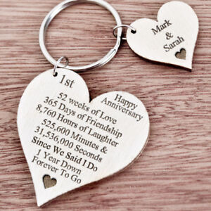 First Wedding Anniversary.Details About 1st First Wedding Anniversary Gift For Husband Wife Personalised Keyring Her K43