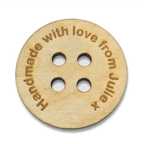 """Personalised Wood Buttons Wooden Handmade Products Knitted Crochet Laser Cut 1/"""""""