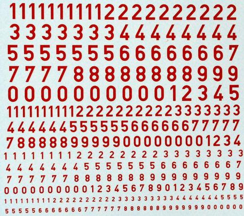 Zahlen rot Numbers red 1:87 Decal Abziehbilder wasserlöslich