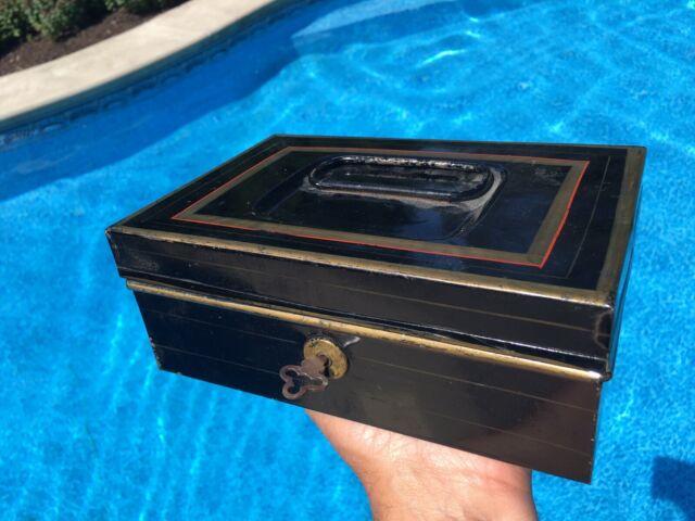 Vintage Antique Painted Tin Cash Box Storage Document Box with Key 8 x 6 x 3