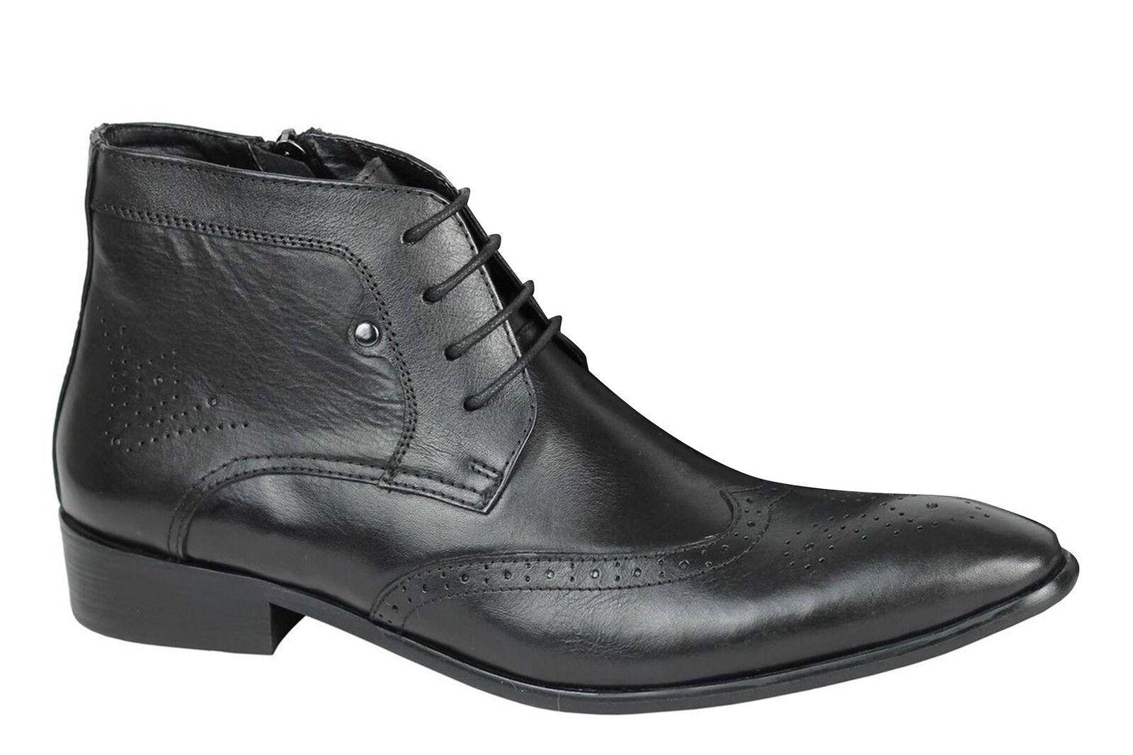 Para Hombre Real De Cuero Negro Clásico zapato bajo de cuero botas Cremallera & Lace Up Vintage Retro Zapatos