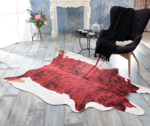 großer Kurzflor Teppich Springbock rot-schwarz XXL Fellteppich