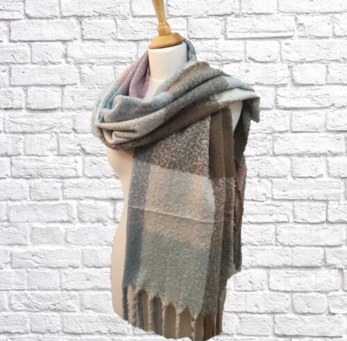 Winter Long Scarf Wrap Thick Weight Blue Cream Taupe Check Pattern Quality Gift