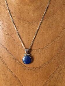 ????joli collier en argent massif 950 ,lapis lazuli (pendentif+chaîne )????