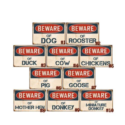 Méfiez-vous des Coq Vintage métal étain signes rétro Plaque Pub Bar Art Wall Decor