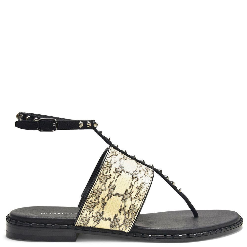 Donald J J J Pliner Lacy Jeweled Ankle-Wrap Sandals Snake Bone nero Leather 6 NIB dad1ed