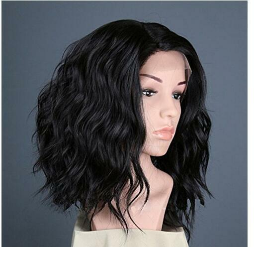 2017 New Women Black Wigs Synthetic Lace Front Wig Heat Resistant Hair Wigs+Cap