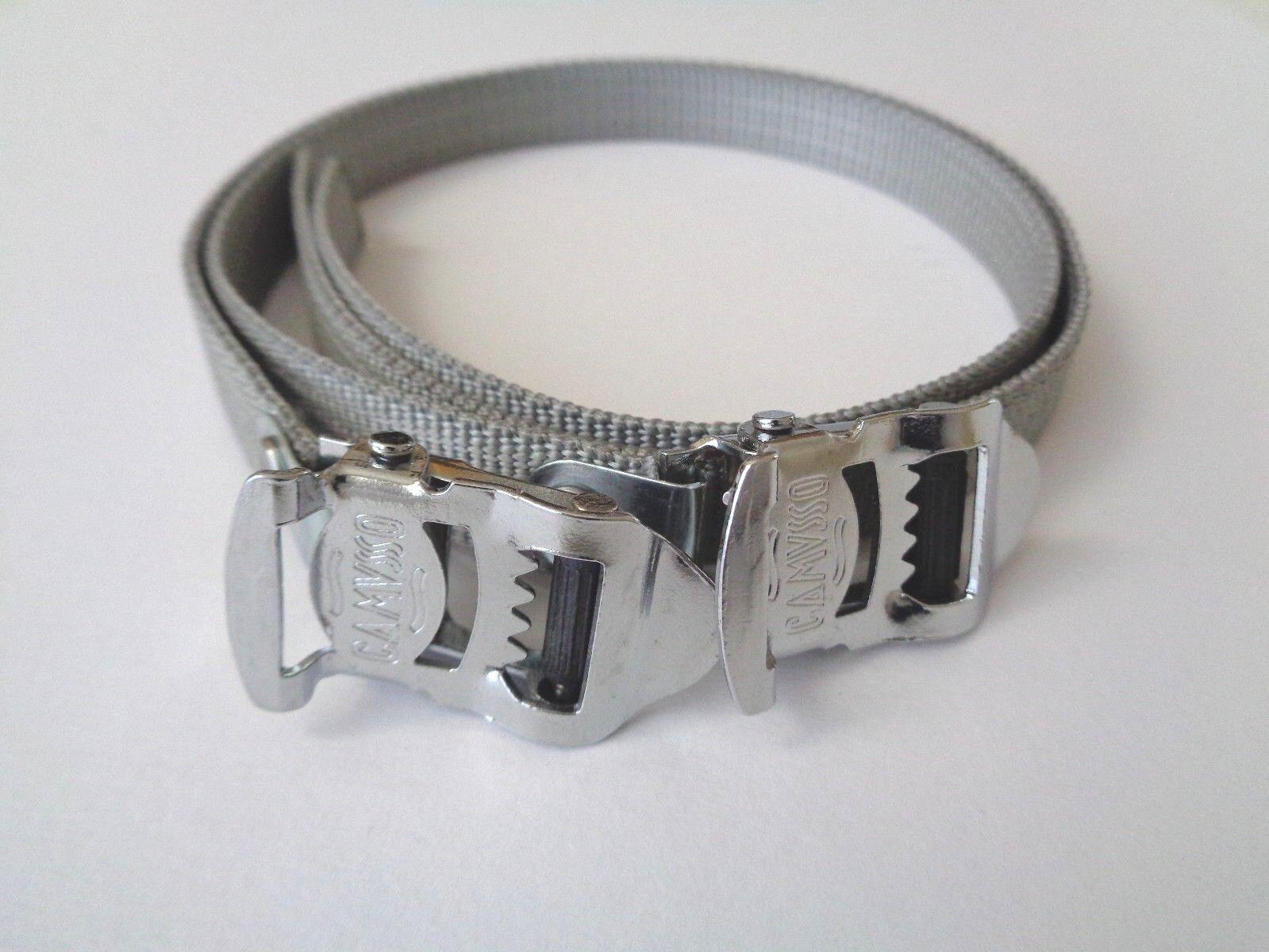 NOS Vintage 1980s CAMUSSO Italian grey nylon toe straps (one pair)