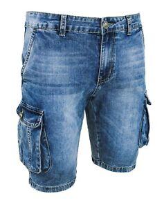 Jeans-Pantaloni-corti-uomo-blu-denim-shorts-bermuda-cotone-con-tasconi-laterali