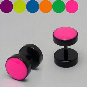 2 Stück Neon Edelstahl Fakeplugs Fake Plug Tunnel Ohrstecker Ohrringe Mit Traditionellen Methoden