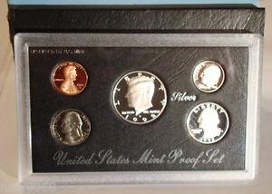 1992 S Proof Set Original Box /& COA 5 Coins 90/% Silver Kennedy US Mint