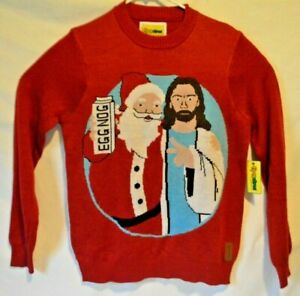 Details about Tipsy Elves Jesus & Santa Ugly Christmas Sweater Men's Medium