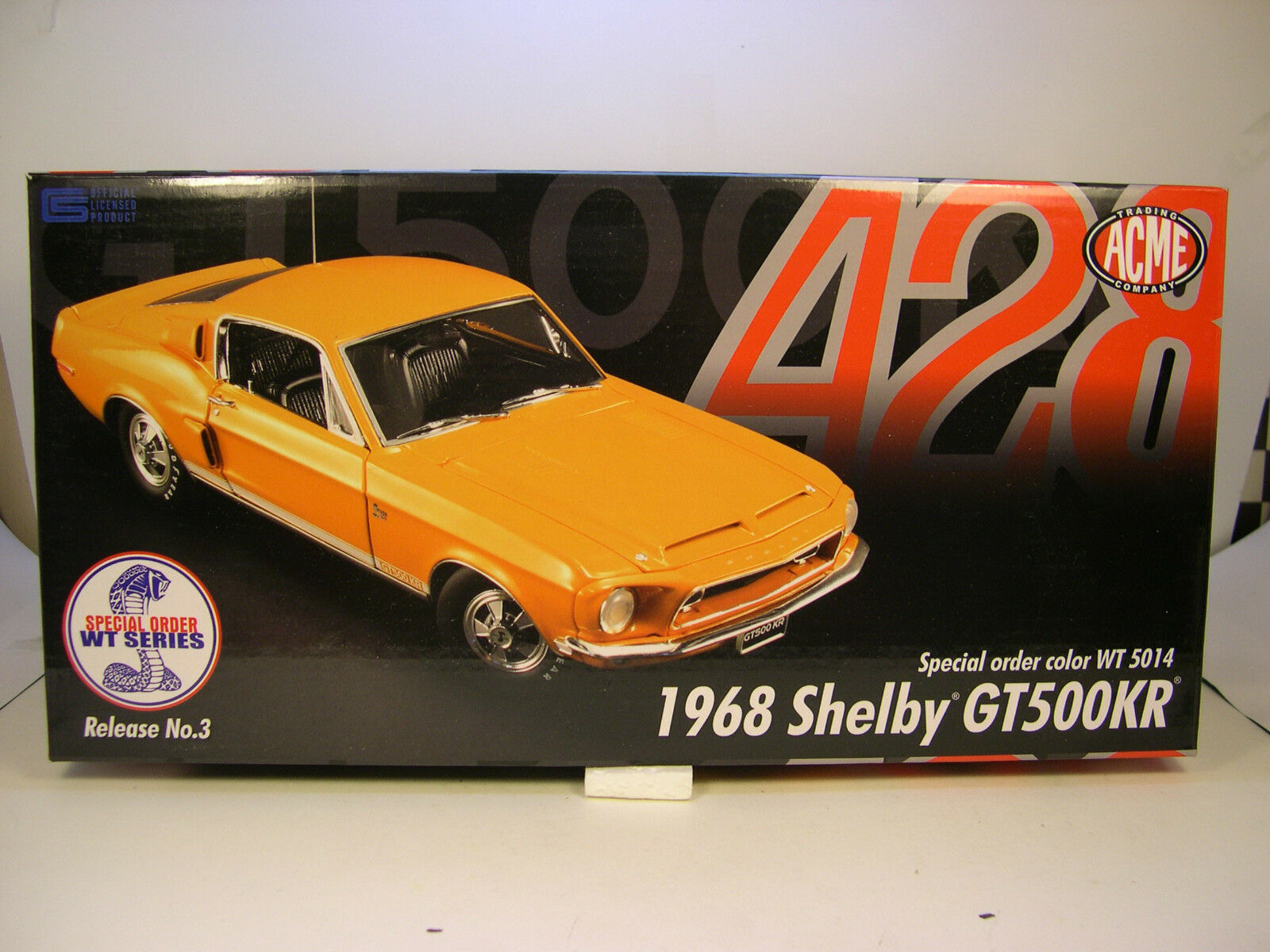WT5014 naranja 1968 FORD SHELBY GT500KR MUSTANG ACME 1 18 SCALE DIECAST METAL CAR