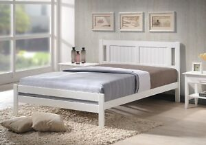 Glory White Wooden Bed Frame Optional Memory Foam Sprung