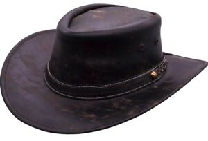 Real Leather Cowboy Hat Stetson Aussie Brown Handcrafted