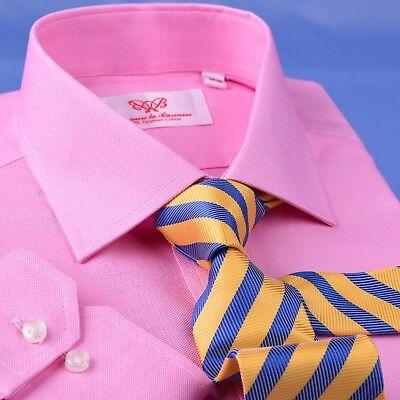 B2B Shirts Men Blue Formal Business Dress Shirt Barrel Single Button Cuff Gray