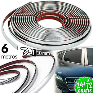 TIRA-CROMADA-EMBELLECEDOR-10-MM-X-6-M-PLATA-MOLDURA-ADHESIVA-STRIP-TRIM-CHROME
