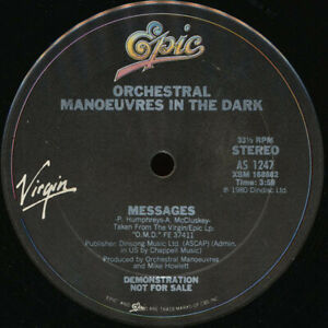 """Orchestral Manoeuvres in the Dark Enola Gay B/W Messages 12"""" Vinyl Record PROMO"""