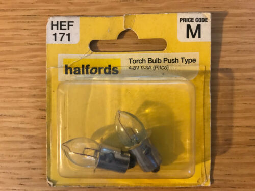 Torch Bulb Push in type 4.8V 0.3A Pack of two Pifco bulbs FREE DELIVERY