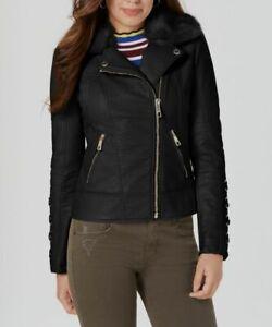 $320 Guess Women's Black Faux-Fur Trim Collar Coat Faux ...
