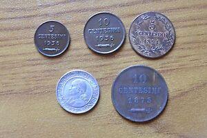 8d92d06478 LOTTO 5 MONETE REPUBBLICA SAN MARINO 5 10 CENT 1936 1894 1875 5 LIRE ...