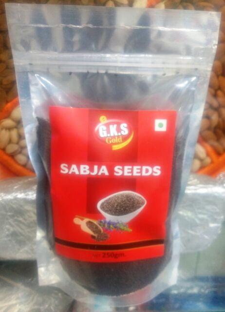 Basil (Sabja) Seeds Tukmaria-100% Organic & Natural - 250 Gram BY GKS GOLD