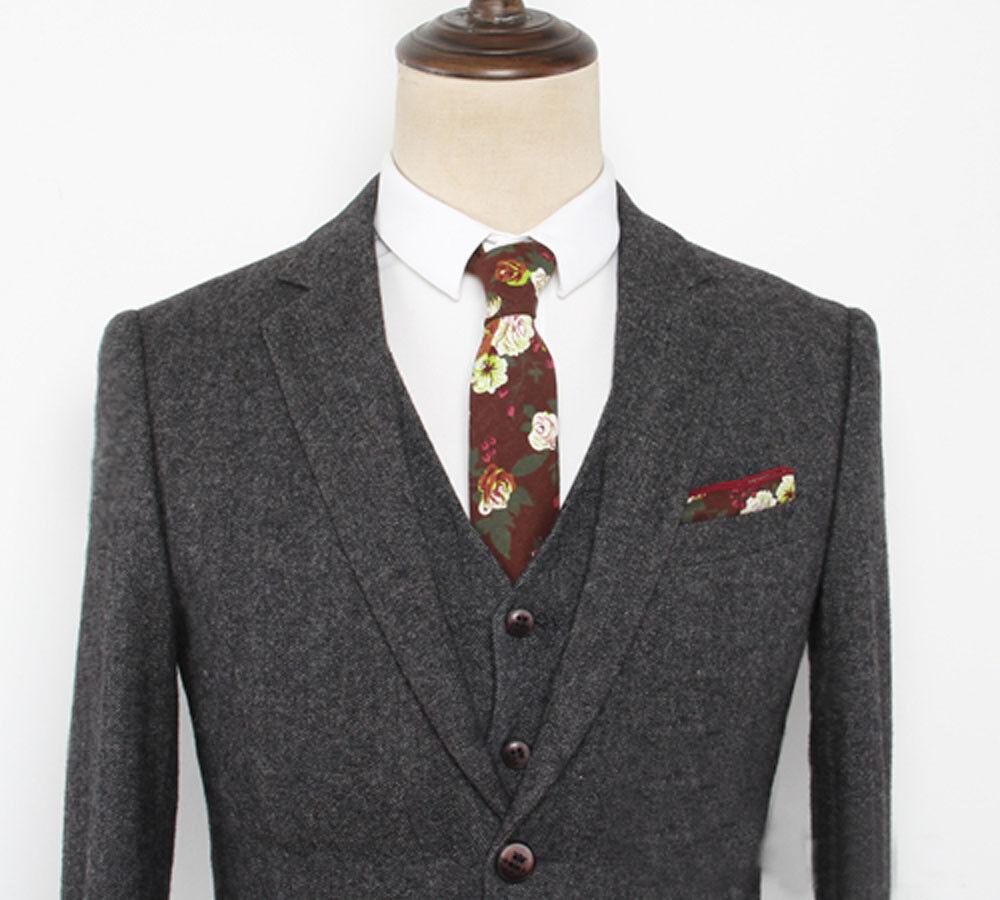 Mens 3pcs Tweed Formal Suit Blazer Waistcoat Trousers Herringbone Peaky Blinders