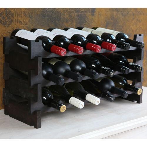 Vinrack 18 Bouteille Vin en Bois Rack-tache sombre