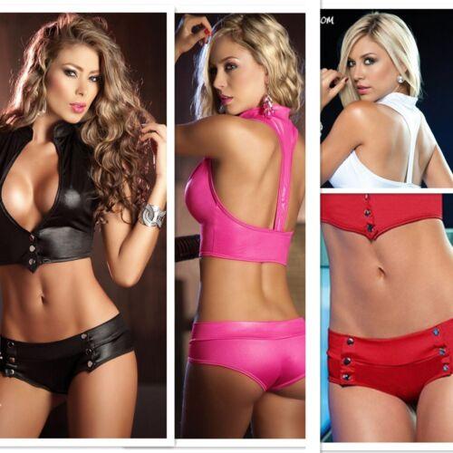 Women Lingerie PU Leather Bikini Shorts Underwear Swimsuit Bathing Suit Clubwear