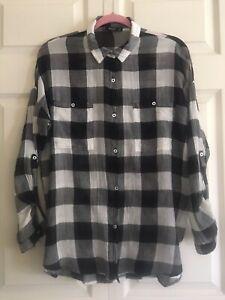 Mango-White-Black-Check-Sheer-Shirt-Top-Adjustable-Sleeve-Loose-Style-Size-S
