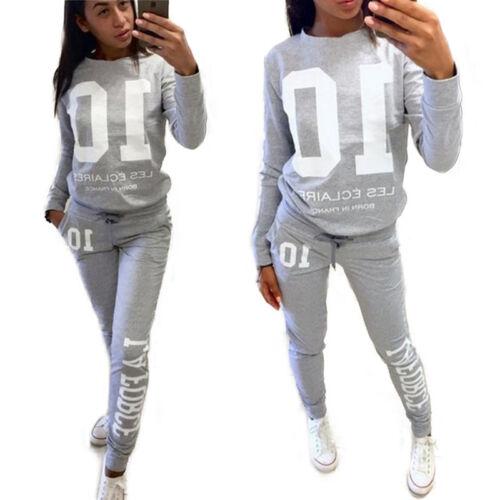 Details about  /2Pcs Womens Tracksuit Casual Sweatshirt Sweatpants Set Pullover Sport Gym Suits