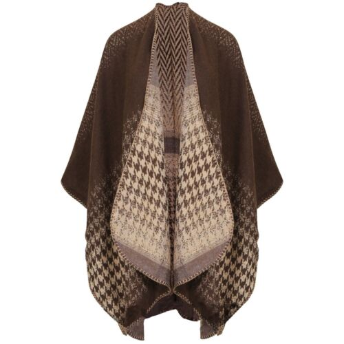 Womens Wooley Blanket Cape Winter Thick Shawl Large Wrap Scarf Cape  *LICK*