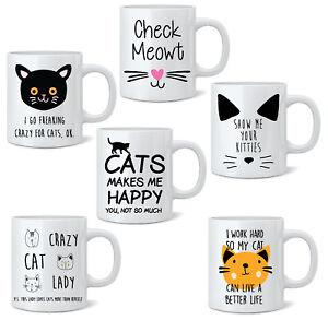 Crazy-Cat-Lady-Novelty-Mug-Tea-Coffee-Mug-Cup-Gift-11oz-Animal-Cats-White-Mugs