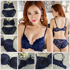 390c5cc8ef Women Lace Floral Thick Padded Bra set Lingerie Underwear Push up ...