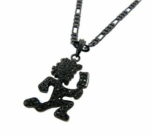 Mens iced out hip hop black hatchet man pendant w 5mm 24 figaro image is loading mens iced out hip hop black hatchet man aloadofball Gallery