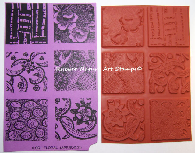 6 Rubber Nature Art Stamps Deep Etched Detailed Designs for Ploymer Clay & PMC