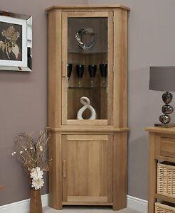 Nero solid oak furniture glazed corner display cabinet unit with ...