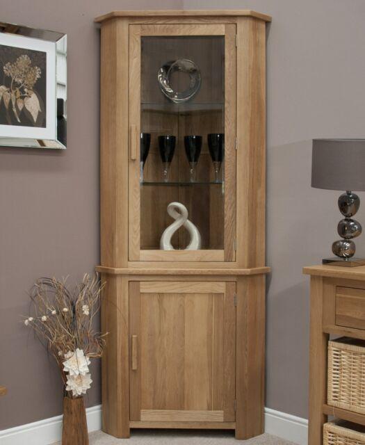 Nero solid oak furniture glazed corner display cabinet unit with felt pads