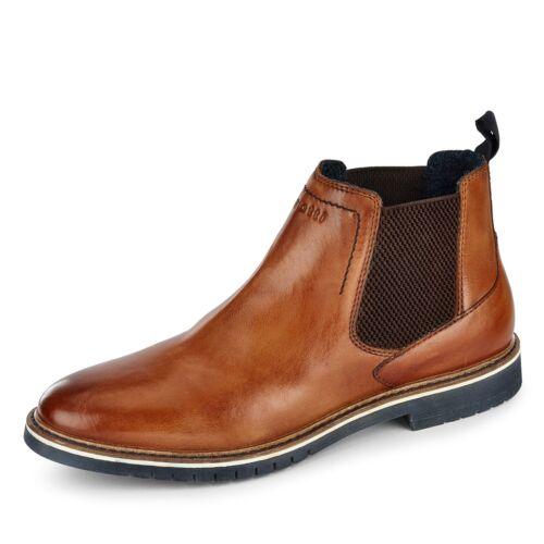 Bugatti Chelsea Boots Herren Nappaleder Stiefeletten Boots weich gepolstert Uni