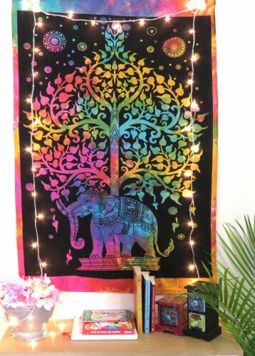Multi Elephant Tree of Life Meditation Yoga Mat Poster Wall Hanging Tapestry