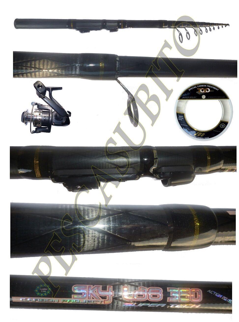 Kit canna cielolab 3,50m  mulinello  filo pesca bolognese fondo mare lago fiume