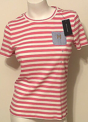 NWT WOMEN'S TOMMY HILFIGER SS STRIPED POCKET CREW NECK TEE SMALL MSRP $39.50 192114898328 | eBay
