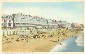 The Sands from Pier. Sandown, Isle of Wight postcard (W J Nigh) 1940s