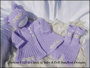f6f7bb100 BABYDOLL HANDKNIT DESIGNS KNITTING PATTERN COAT SET F123 16-22