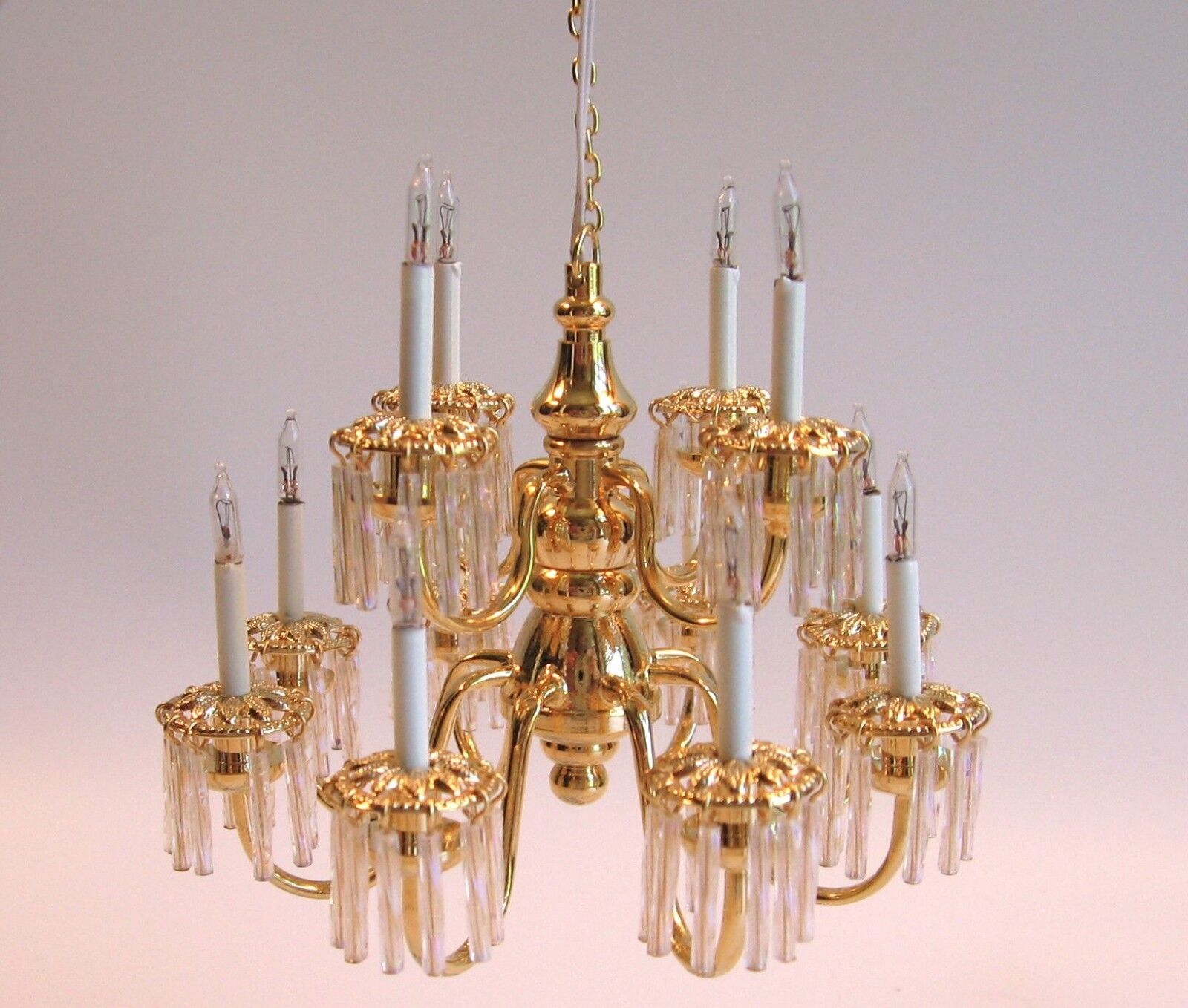 Dollhouse doll house miniature 12 ARM CRYSTAL ELECTRIC CHANDELIER LAMP