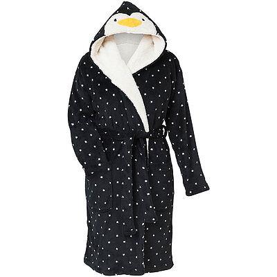 Love To Sleep Novelty Christmas Penguin Face Women's Super Soft Fleece Robe Gown