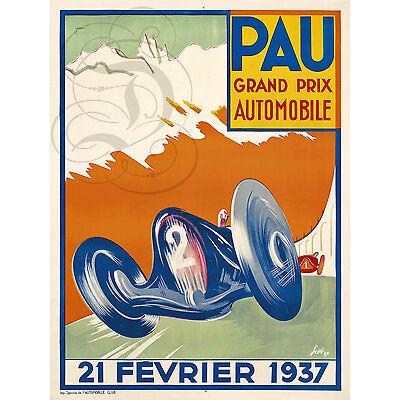 PLAQUE ALU DECO AFFICHE GRAND PRIX AUTOMOBILE PAU FEVRIER 1937