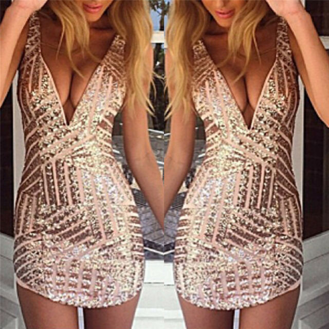 Women Fashion Mini Dress Party V-neck Cocktail Beach Sexy Dress Sequins Dress:~